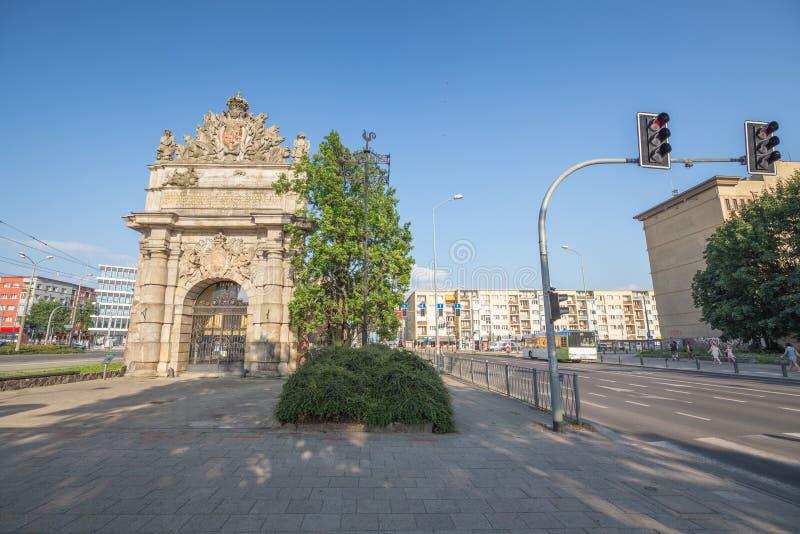 Szczecin La porte de port sur la rue principale dans la ville photographie stock libre de droits