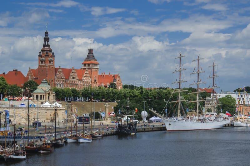 Szczecin - Mening van Chrobry-dijk royalty-vrije stock foto