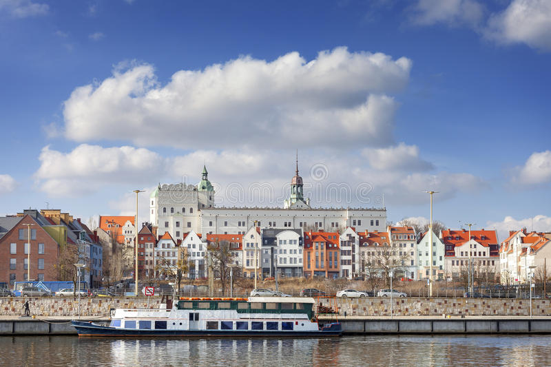 Szczecin old town seen from the Odra River, Poland.  stock photography