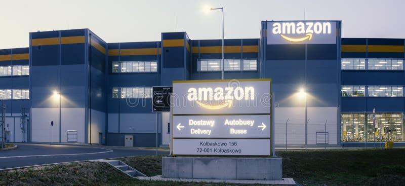Szczecin, Poland-August 2018: Amazon logistics center near Szczecin in Poland-panorama. Szczecin, Poland-August 2018: Amazon logistics center near Szczecin in stock image
