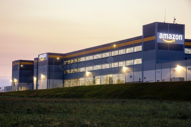 Szczecin, Poland-August 2018: Amazon logistics center near Szczecin in Poland-panorama stock photo