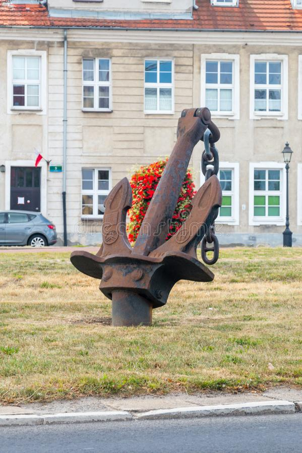 Anchor on the DK10 road in Szczecin, Poland. royalty free stock photo