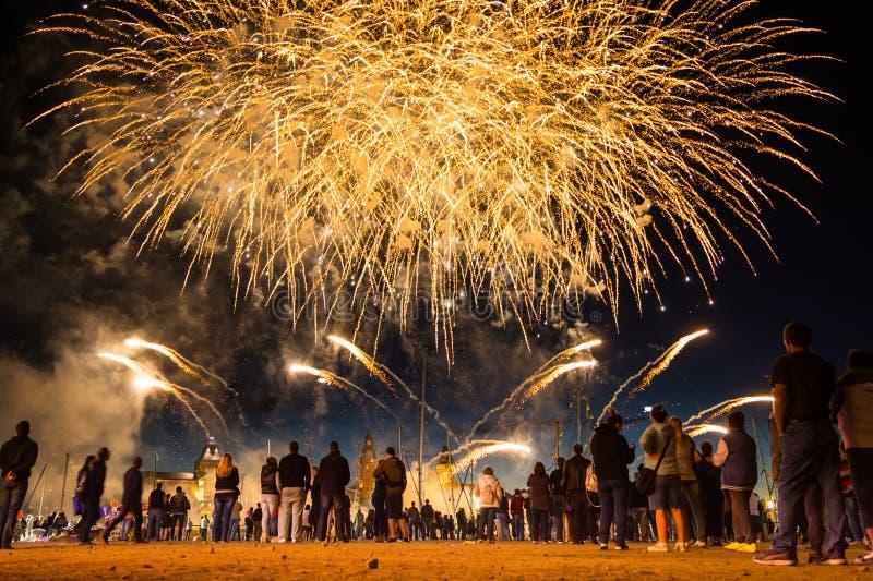 SZCZECIN, POLAND - JUNE 2016: Fireworks during the Sea Days 2016 in Szczecin, Poland stock photography