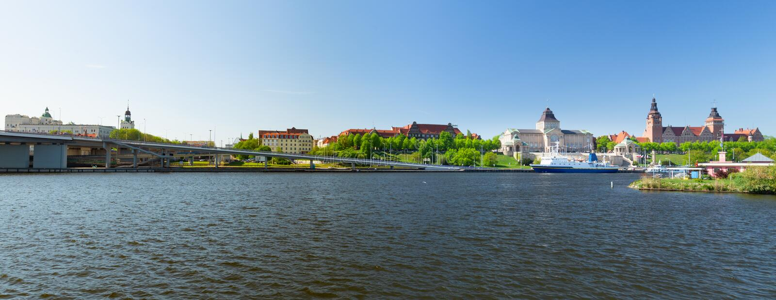 Szczecin, waterfront view of the historical part of the city. Szczecin in Poland waterfront view of the historical part of the city royalty free stock photography