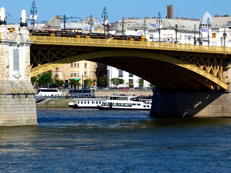 szczegółu widok Margaret mosty w Budapest nad Danube obrazy stock