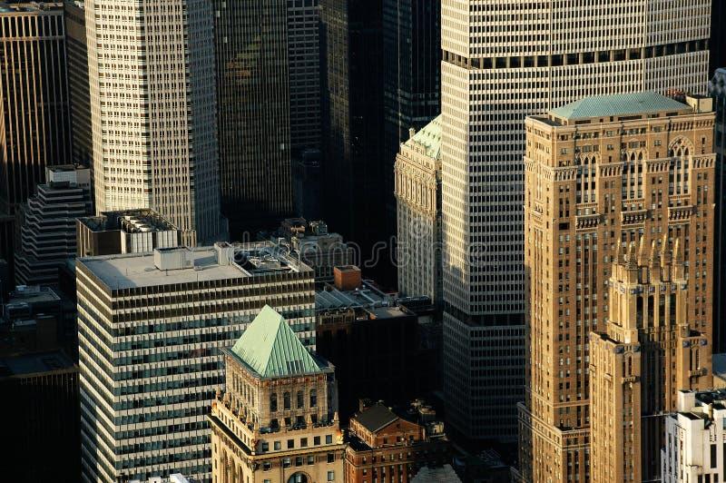 Szczegółów budynków nyc miasto above obrazy royalty free