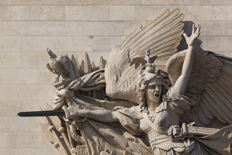Szczegół łuk De Triomphe, Paryż fotografia stock