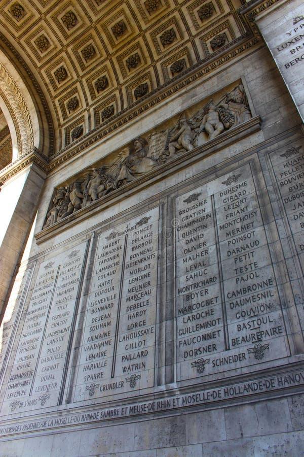 Szczegół łuk De Triomphe w Paryż obrazy stock