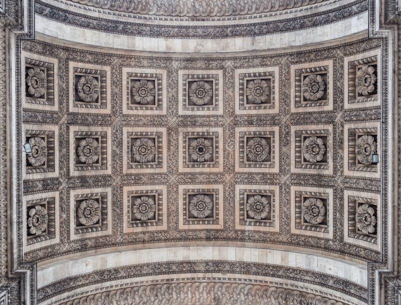 Szczegół łuk De Triomphe w Paryż Widok dekorujący ce zdjęcia stock