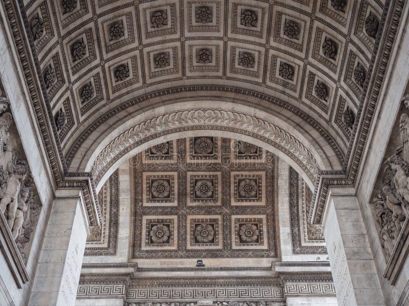 Szczegół łuk De Triomphe w Paryż Widok dekorujący ce zdjęcia royalty free