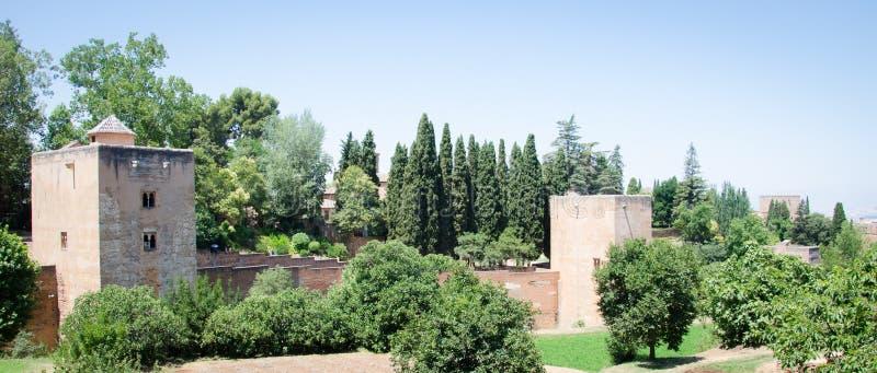 Szczegół ściana Alhambra pałac w Granada Hiszpania obrazy stock