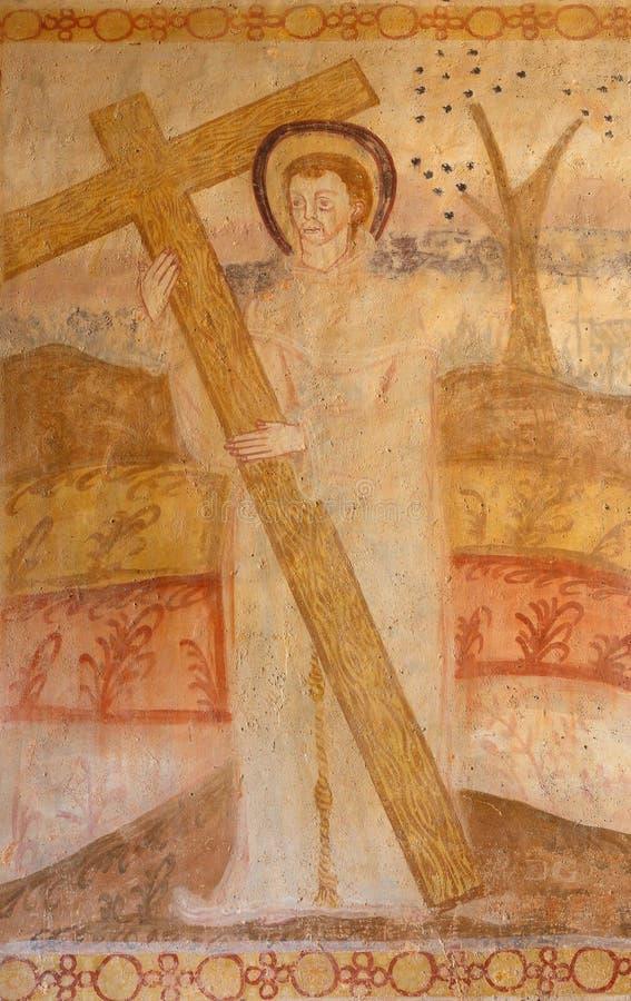 Szczeg?? ?redniowieczny fresk Alvito, Alentejo, Portugalia fotografia stock