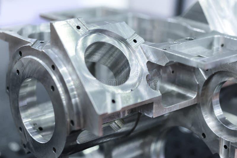 Szczegół aluminium machined części, błyszcząca powierzchnia obrazy royalty free