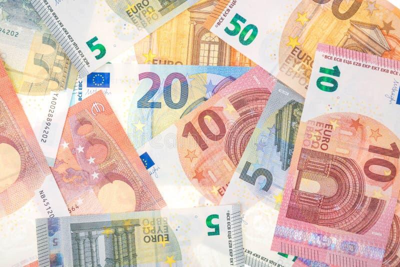 Szczegół banknoty Europejski zjednoczenie jako tło Euro waluty tło Finansowa tapeta fotografia stock