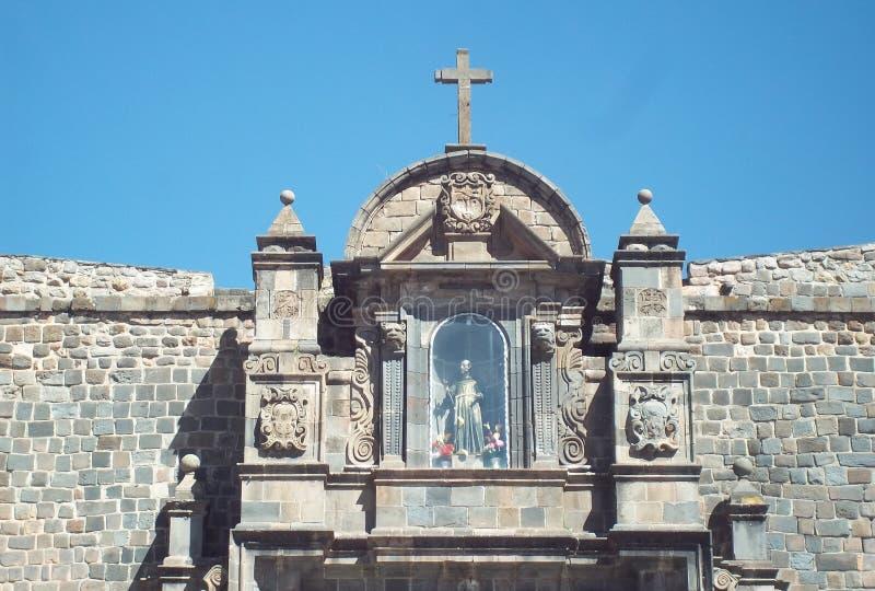 Szczegół barokowa architektura w kościół Cuzco Peru fotografia royalty free