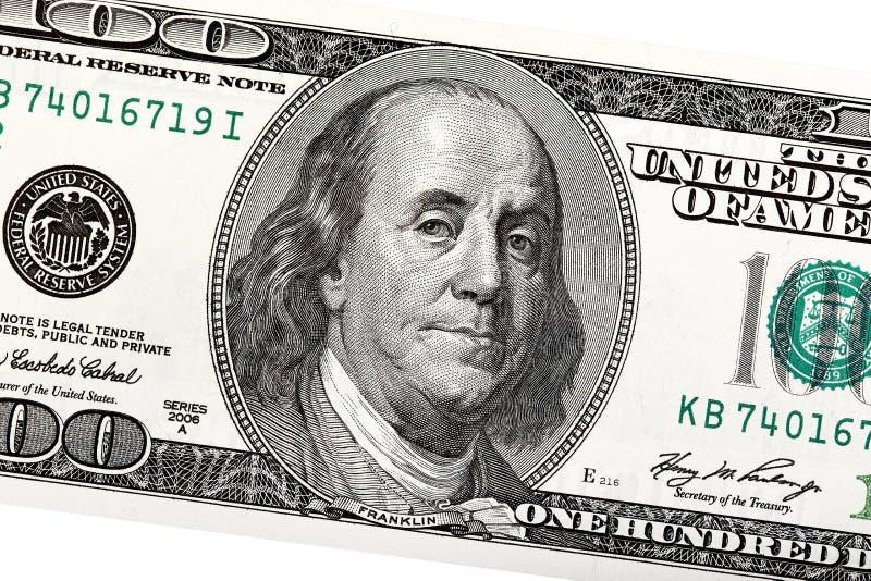 Szczegół Ben Franklin na 100 dolarowym rachunku zdjęcie stock
