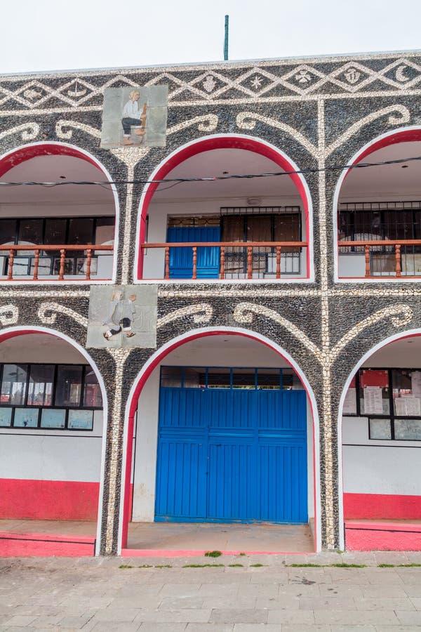Szczegół budynek na kwadracie w wiosce na Amantani wyspie w Titicaca jeziorze, Pe fotografia stock