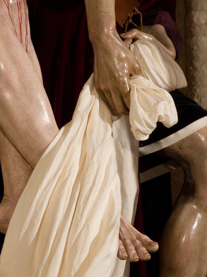 Szczegół cieki jezus chrystus, bractwo święty Marta, Święty tydzień w Seville fotografia stock