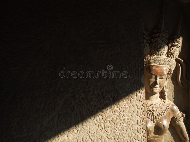 Szczegół cyzelowania przy Angkor Wat świątynią w Kambodża zdjęcia stock