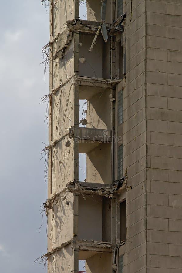 Szczegół deconstruction betonowy mieszkania wierza w rabot neihgborhood, Ghent zdjęcie royalty free