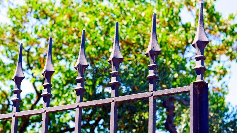 Szczegół dokonanego żelaza ogrodzenie z punktami fotografia stock