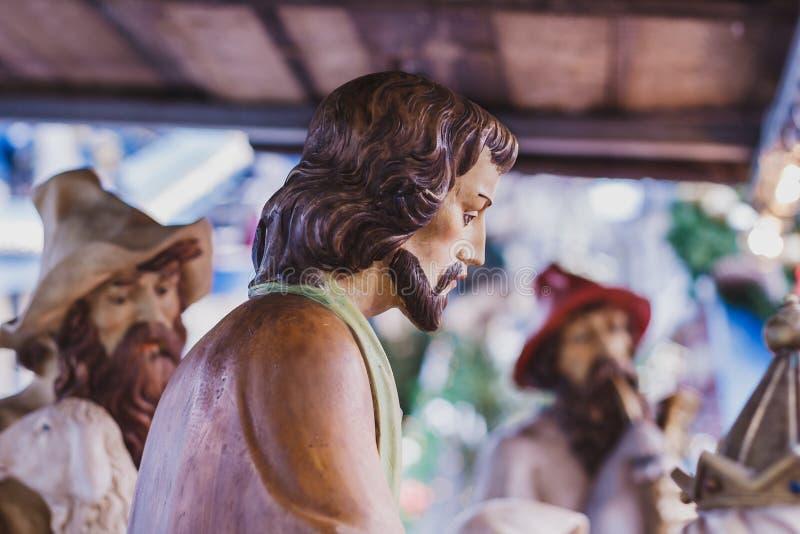 Szczegół drewniana Bożenarodzeniowa narodzenie jezusa scena obraz royalty free