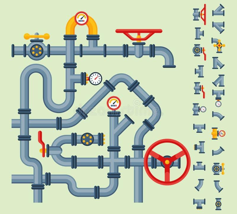 Szczegół drymb różni typ kolekcja wodna tubka przemysłu benzynowej klapy budowa i nafciany przemysłowy nacisk ilustracji