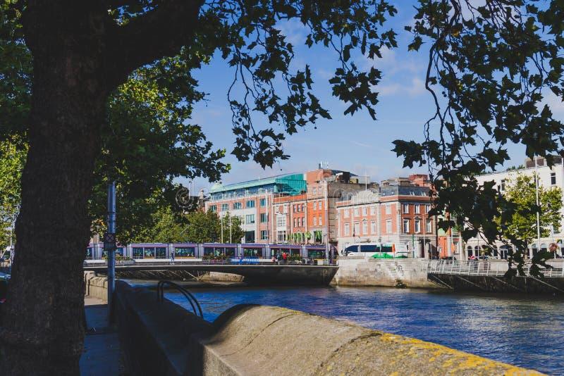 szczegół Dublin centrum miasta wzdłuż rzecznego Liffey fotografia royalty free