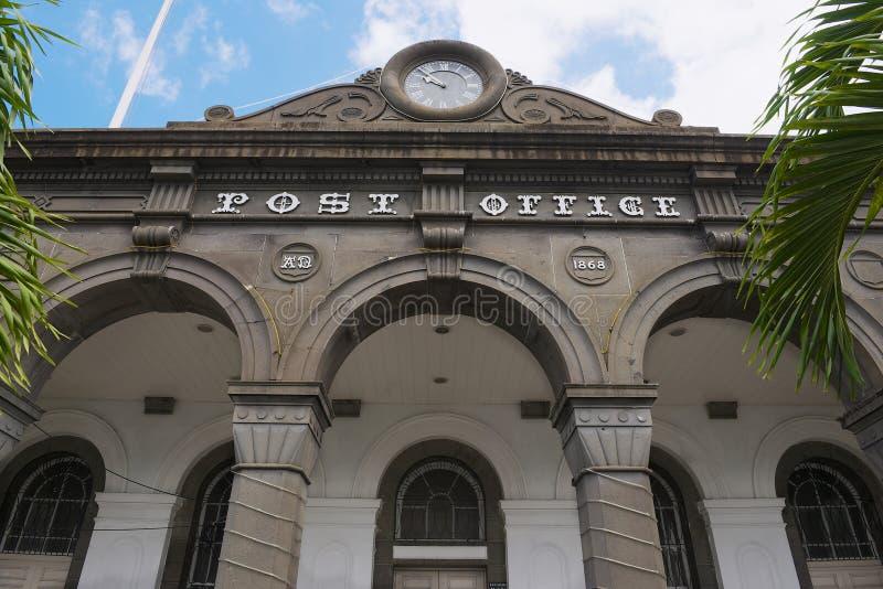Szczegół fasada dziejowy główny urzędu pocztowego budynek w Portowym Louis, Mauritius wyspa zdjęcie royalty free