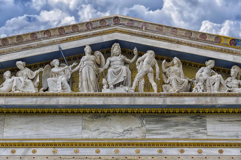 Szczegół fasada główny budynek akademia Ateny obraz royalty free