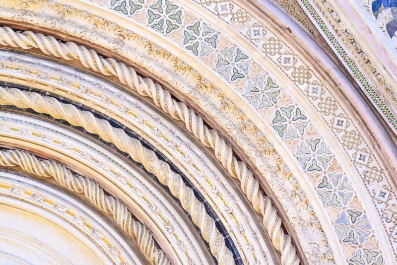 Szczegół fasada katedra Orvieto, Umbria, Włochy zdjęcie stock