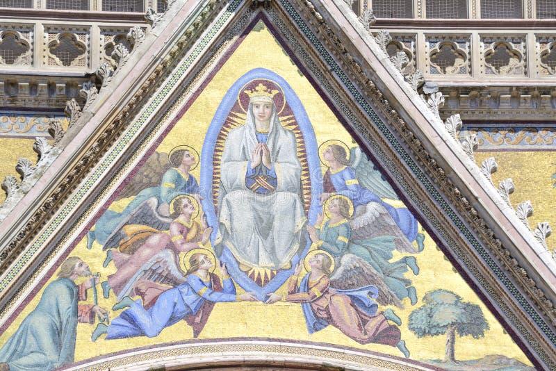Szczegół fasada katedra Orvieto, Umbria, Włochy zdjęcia royalty free