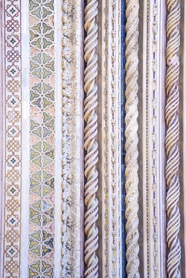Szczegół fasada katedra Orvieto, Włochy spirala zdjęcie royalty free