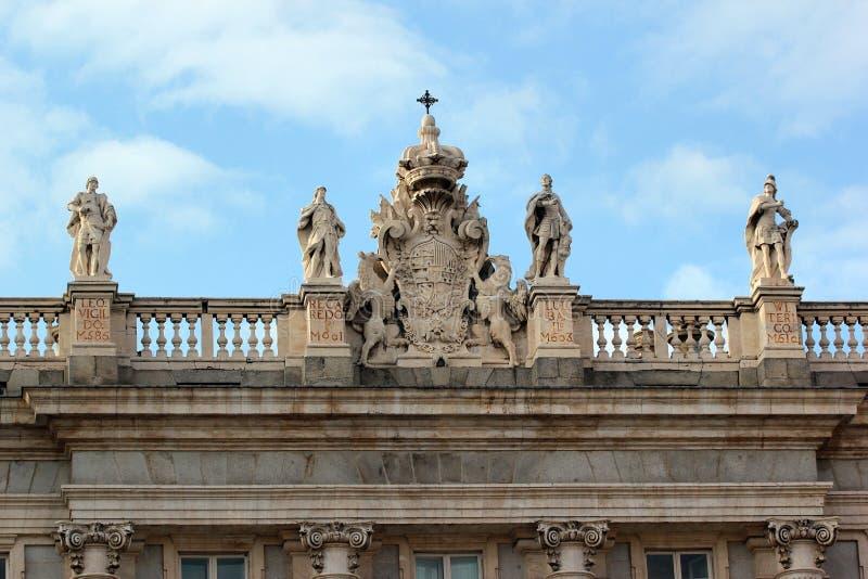 Szczegół fasada Royal Palace Madryt obrazy stock