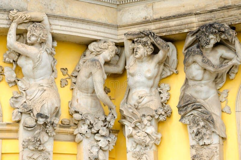 Szczegół fasada Sanssouci pałac, Potsdam, Niemcy fotografia stock