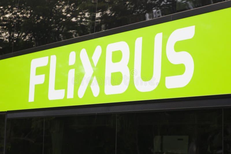 Szczegół Flixbus autobus przy Zurich, Szwajcaria fotografia royalty free