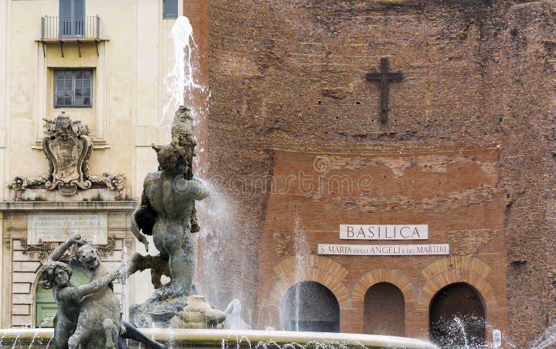 Szczegół fontanna najady w piazza della Repubblica w Rzym obrazy royalty free