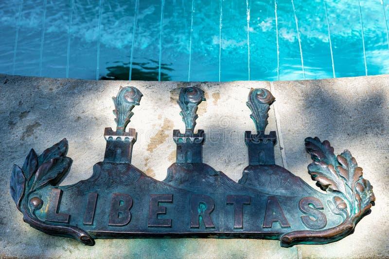 Szczegół fontanna w republice San Marino obraz royalty free