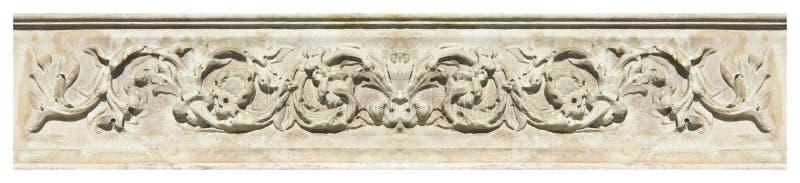 Szczegół formierstwo kamienia starzy Włoscy okapy z ulistnieniem i pl obraz royalty free