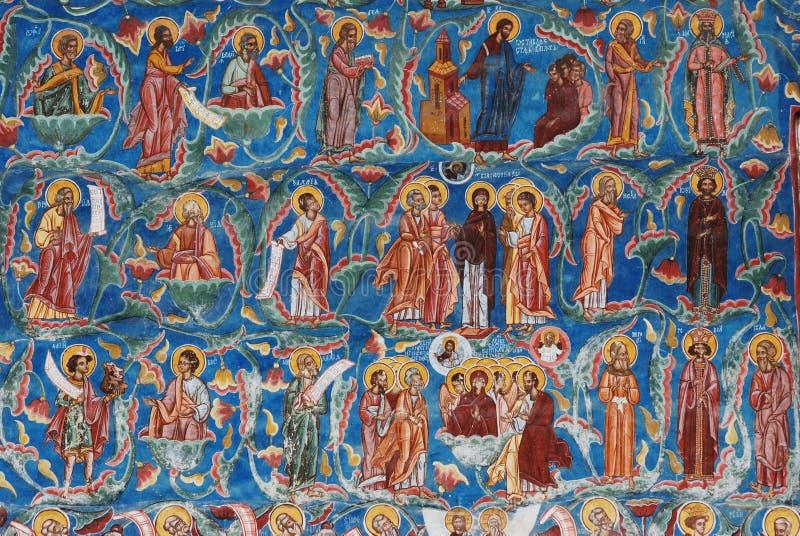 Szczegół fresk, malujący kościół, Sucevita, Bucovina, Rumunia obraz stock