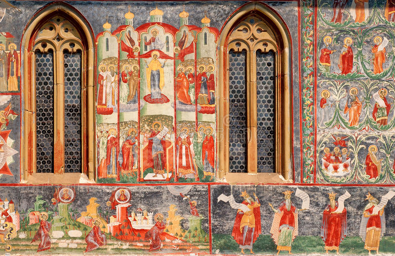 Szczegół fresk Voronet monaster fotografia royalty free