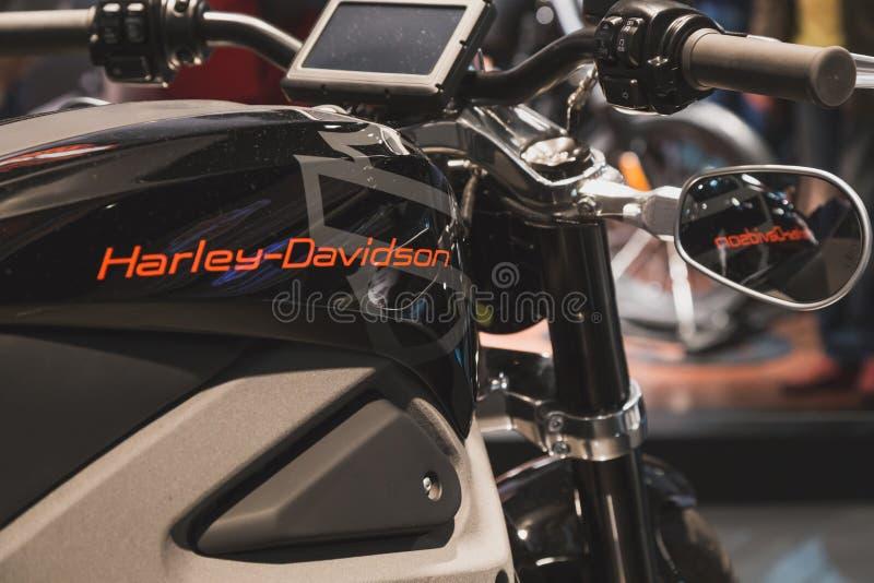 Szczegół Harley-Davidson motocykl przy EICMA 2014 w Mediolan, Włochy zdjęcie stock