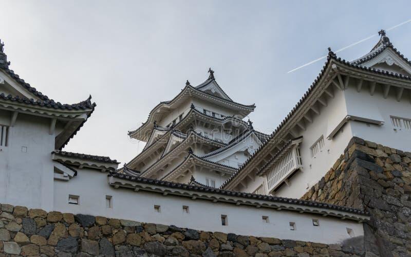 Szczegół Himeji kasztel i ściany na jasnym, słoneczny dzień Himeji, Hyogo, Japonia, Azja obraz royalty free
