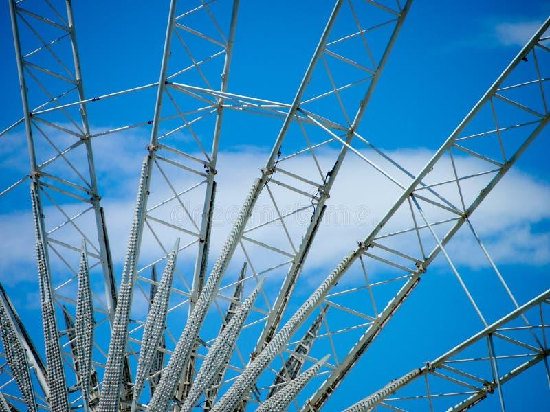 Szczegół I struktura Ferris koło z niebieskim niebem obrazy stock