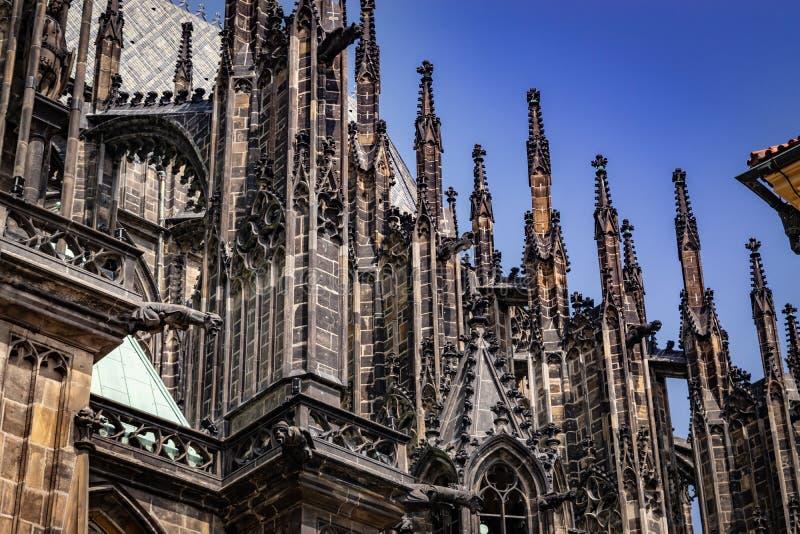 Szczegół iglicy St Vitus katedra fotografia royalty free