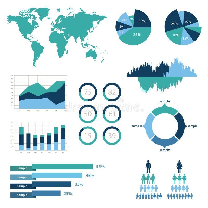 Szczegół infographic wektorowa ilustracja. Światowa mapa i Ewidencyjne grafika royalty ilustracja
