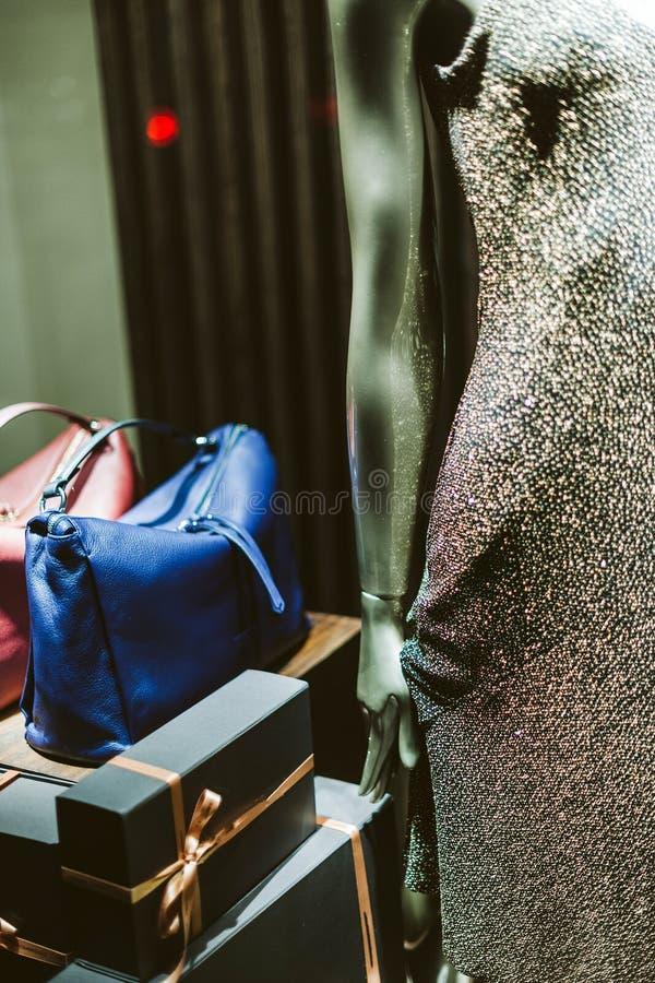 Szczegół jest ubranym seductional cekinów dresy modny mannequin obrazy royalty free