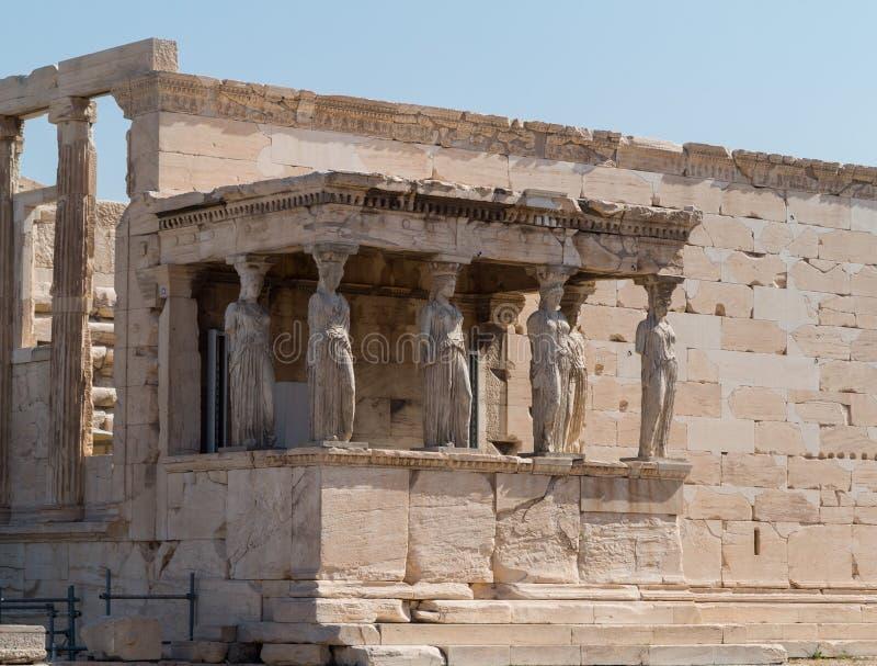 Szczegół kariatyd statuy w Ateny Grecja obraz royalty free
