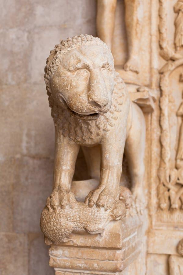 Szczegół katedra St Lawrance w Trogir, Chorwacja zdjęcie stock