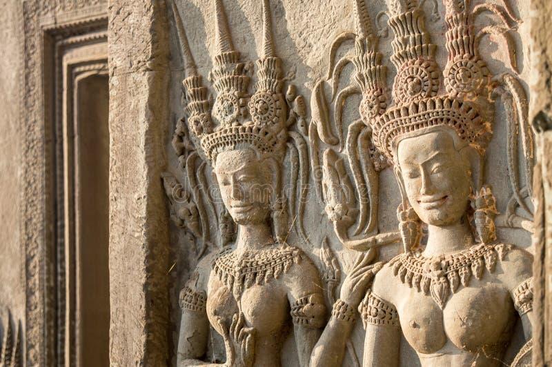Szczegół kobiet statuy w Angkor Wat, Siem ryps Kambodża obraz royalty free
